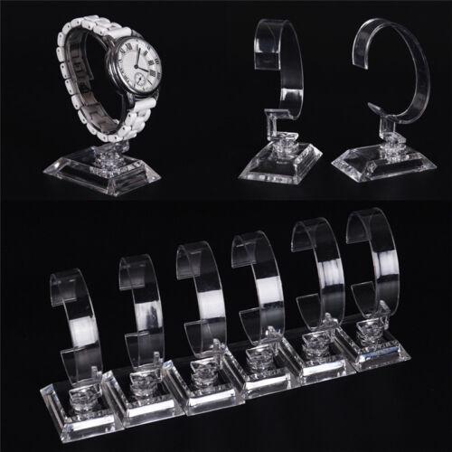 Neue 2x Klar Acryl Abnehmbare Armband Schmuck Uhr Display Halter Ständer FBB
