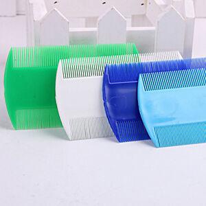 Pet-Plastic-Head-pidocchi-pettine-doppio-lato-di-rimozione-durevole-Nit-Combs-CR