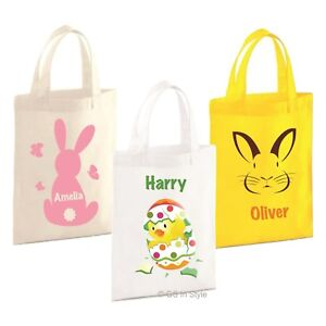 Personalised cotton party bag boy girl bunny egg design 19x25cm gift image is loading personalised cotton party bag boy girl bunny egg negle Gallery