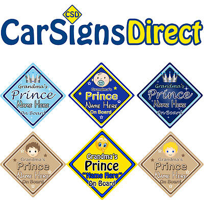 Personalised Baby On Board Car Sign ~ Grandson Prince Yellow /& Red New! Blue