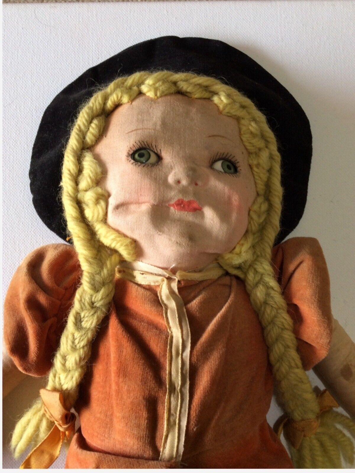 Antique Primitive Cloth bambola Girl Original Hefatto Vintage gree   all'ingrosso a buon mercato