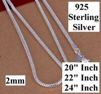 925 Sterling Silver Women's Men's Snake 20 - 22 - 24 Necklace Dm163
