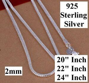 925-Sterling-Silver-Women-039-s-Men-039-s-Snake-20-034-22-034-24-034-Necklace-DM163