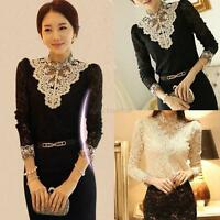 Stylish Women Ladies Long Sleeve Floral Lace Tops T-shirt Casual OL Shirt Blouse