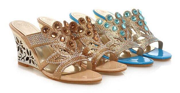 Eleganti sandali ciabatte donna donna donna zeppa 8 cm disp in 2 Coloreeei oro azzurro cm 8227   Nuovo Prodotto    Uomo/Donna Scarpa  3a176c