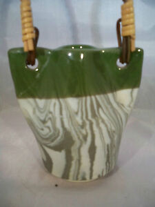 Green-And-White-Basket-with-handle-3-5-X-3-75-034-not-counting-handle-Japan