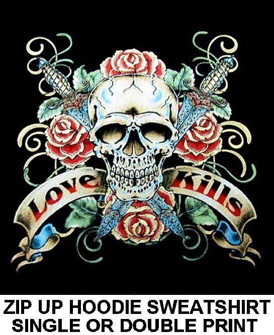 LOVE KILLS KNIFES DAGGERS RIBBONS ROSES SKULL TATTOO ZIP HOODIE SWEATSHIRT WS121