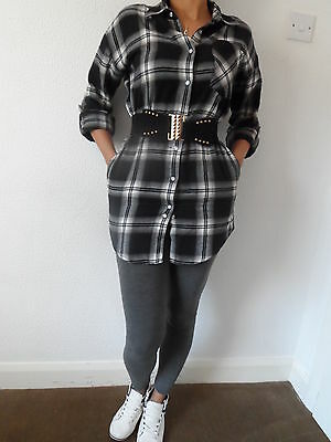 NEW WOMAN/'S LADIES 100/% COTTON WARM CHECK SHIRT DRESS POPPER FRONT FASTENING
