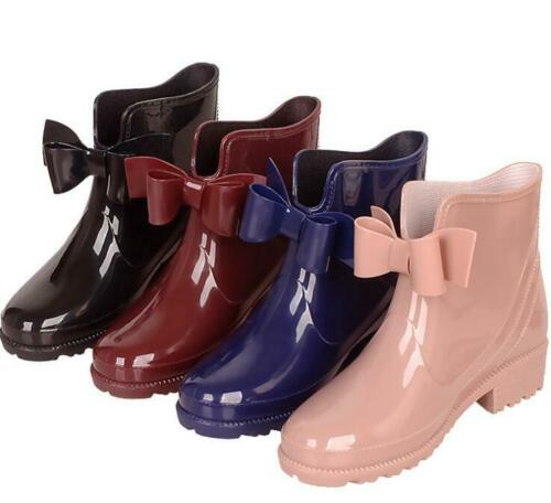 Womens Ladies Bow Knot Heels Slip On Waterproof Ankle Rain Boots Shoes SZ A326