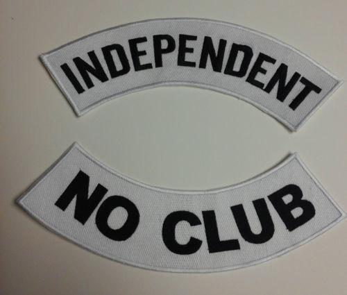 Independent No Club Patches  Rockers set for Biker motorcycle vest or Jacket New