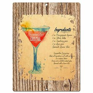 PP0555-Cocktail-Plate-Chic-Sign-Bar-Store-Shop-Cafe-Restaurant-Kitchen-Decor