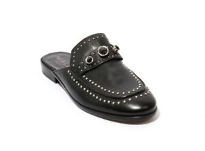18202d2601a Mally 6108 Black Leather Studded Sandals Flat Mules Shoes 37   US 7 ...