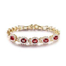 """18k gold filled Red Garnet Latest Design lady hot bracelet 8.2""""17.8g"""
