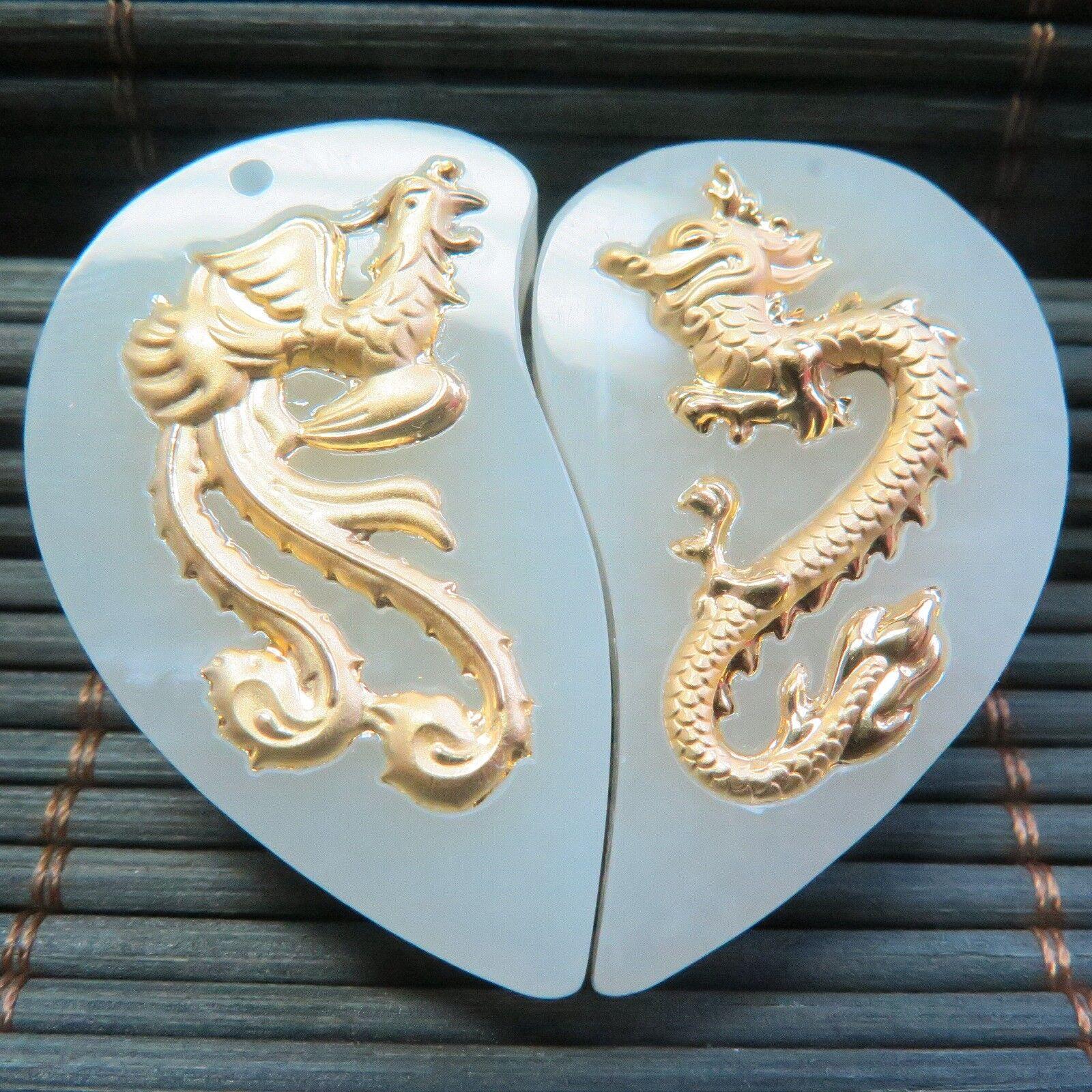 Real Fine 24k Yellow gold Natural A Grade Jade Dragon  Phoenix Heart  Pendant