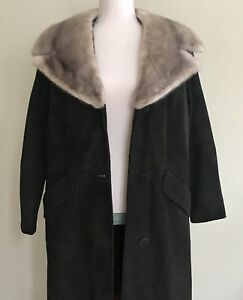 Vintage-60s-Suede-Coat-with-Big-Gray-Mink-Fur-Collar-Chocolate-Brown-Size-XS-S