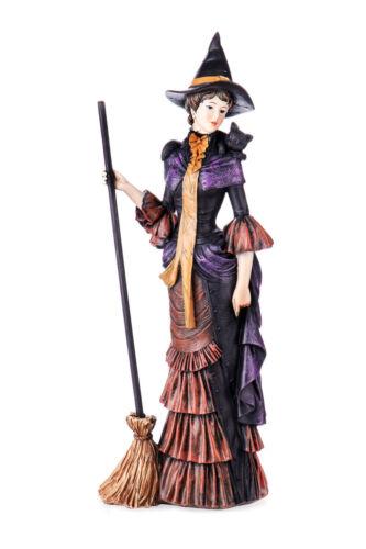 Dekofigur Hexe mit Besen 32 cm Fantasy Figur Hexenfigur Zierfigur Halloween