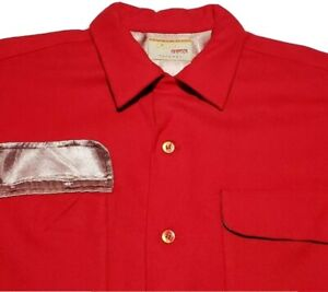 Vtg-50s-LEVI-039-S-BIG-E-Styled-by-Levis-Red-Wool-Board-Shirt-USA-Made-Size-L