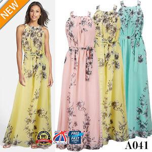 Vestido-de-noche-Mujer-Maxi-Falda-Larga-Bohemia-Floral-Verano-Playa-Coctel-Plus-A041