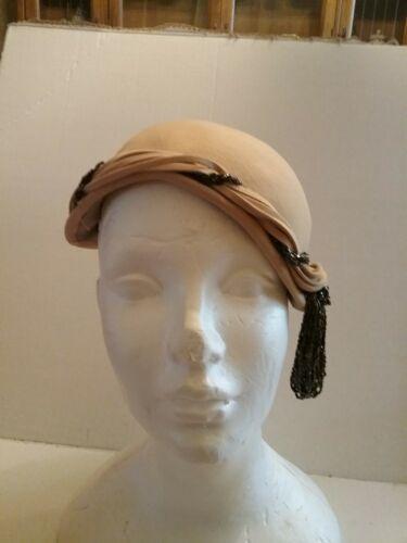 Vintage 1940s  Stetson Ladys Felt  Hat w/Beads w/O