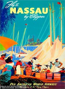 Image Is Loading Nassau Bahamas Caribbean Islands Beach Vintage Travel Advertisement