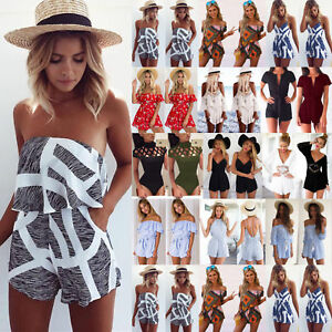 bf05ae3d53a4 Image is loading Women-Holiday-Mini-Playsuit-Jumpsuit-Rompers-Summer-Beach-