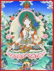 Blanc-Tara-Thangka-034-Meilleure-Pression-034-Bouddha-Meditation-Bouddhisme-T16