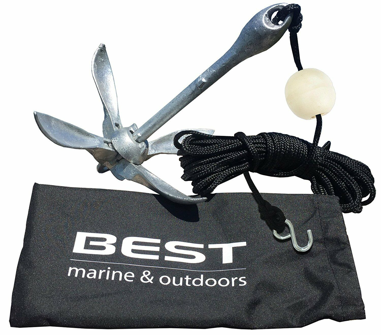 BEST Kayak Anchor for Canoes, Jet Skis, Dinghy, SUP & Small Boats - 3.5lbs Iron