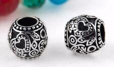Ornate Silver Heart Charm Bead Large Hole 5mm Fits European Charm Bracelets