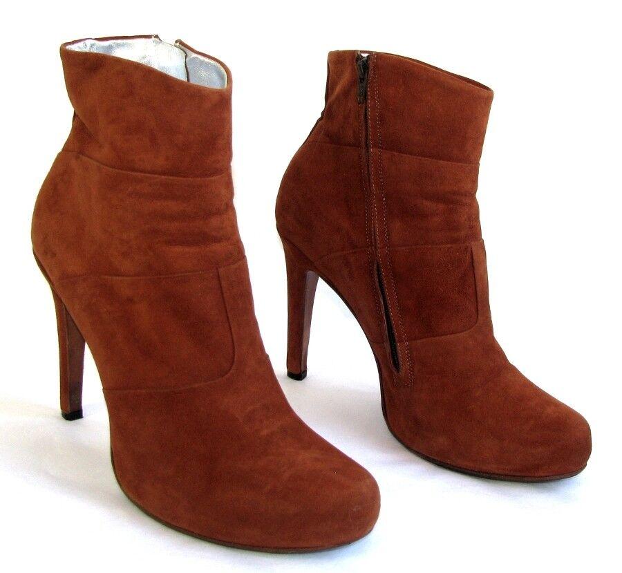 Grandes zapatos con descuento FREE LANCE Bottines talons 11.5 cm cuir veau velours marron fauve 39.5 TB ETAT