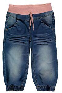 NAME-IT-Maedchen-Baggy-Jeans-Hose-Bolet-blau-rosa-Bund-Groesse-80-bis-104