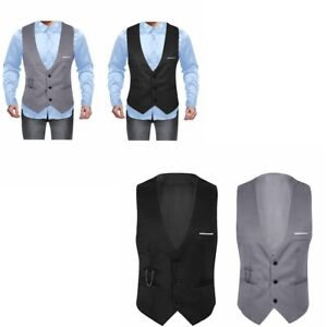Men-039-s-Slim-Suit-Vest-V-Neck-Button-Waistcoat-Formal-Business-Dress-Suit-Jacket