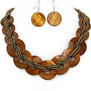 Women-039-s-Necklace-Earrings-Brown-Circle-Shell-22-034-25-034-L-Seed-Bead-Jewelry-Set