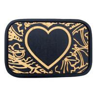 Buckle-down Belt Buckle Carved Heart Wood Inlay Black Stainless Steel Metal