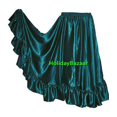 Flamenco Satin Full Circle Belly Dance Skirts Ruffle Tribal Gypsy ATS | 30 Color