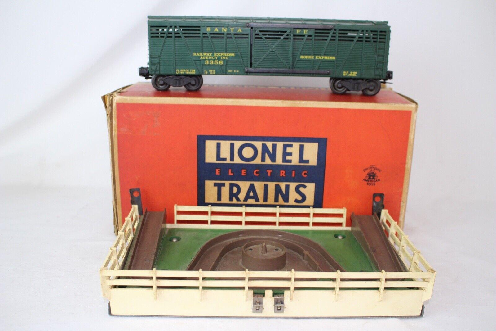 LIONEL O SCALE  3356 OPERATING HORSE auto & CORRAL, ORIGINAL, scatolaED