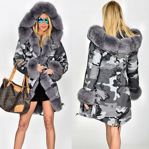 73ab0c0b18df UK Women's Winter Faux Fur Coat Military Jacket Thick Warm Parka ...