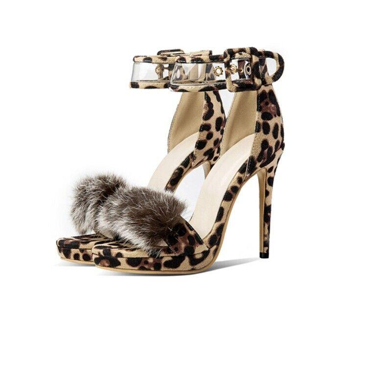 All Size Ladies  Leopard Print Pompom Sexy Ankle Strap Peep Toe Sandals Pumps