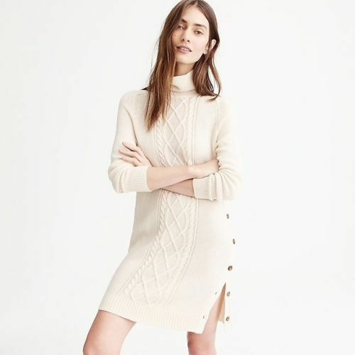 J Crew Cable-knit Turtleneck Ivory Sweaterdress Größe PS NWOT