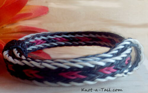 Crin de cheval Bracelet rose//noir//blanc CRIT ajuster SM-xlg crin de cheval Bracelet