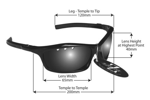 RayZor Uv400 Black Sports Wrap Sunglasses Vented Smoke Mirrored Lens RRP£49 401