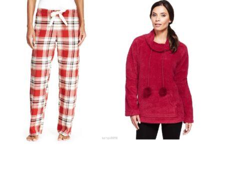 Nouveau m/&s Rouge Polaire Pyjama Top /& en sergé à Carreaux Pantalon Tailles UK 20-22