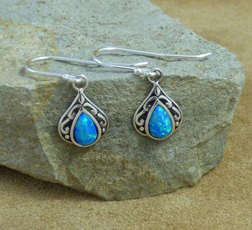 New Filigree 925 Sterling Silver /& Pacific Blue Opal Teardrop Drop Earrings