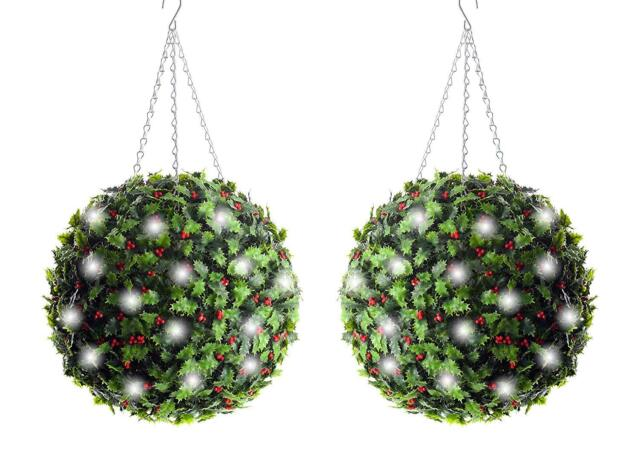 Christmas Topiary Balls.2 Best Artificial 40cm Pre Lit Christmas Holly Topiary Balls 50 White Led Lights