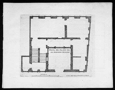 1665 De Rossi Original Antique Architectural Plan Silvestri Palace Milan, Italy