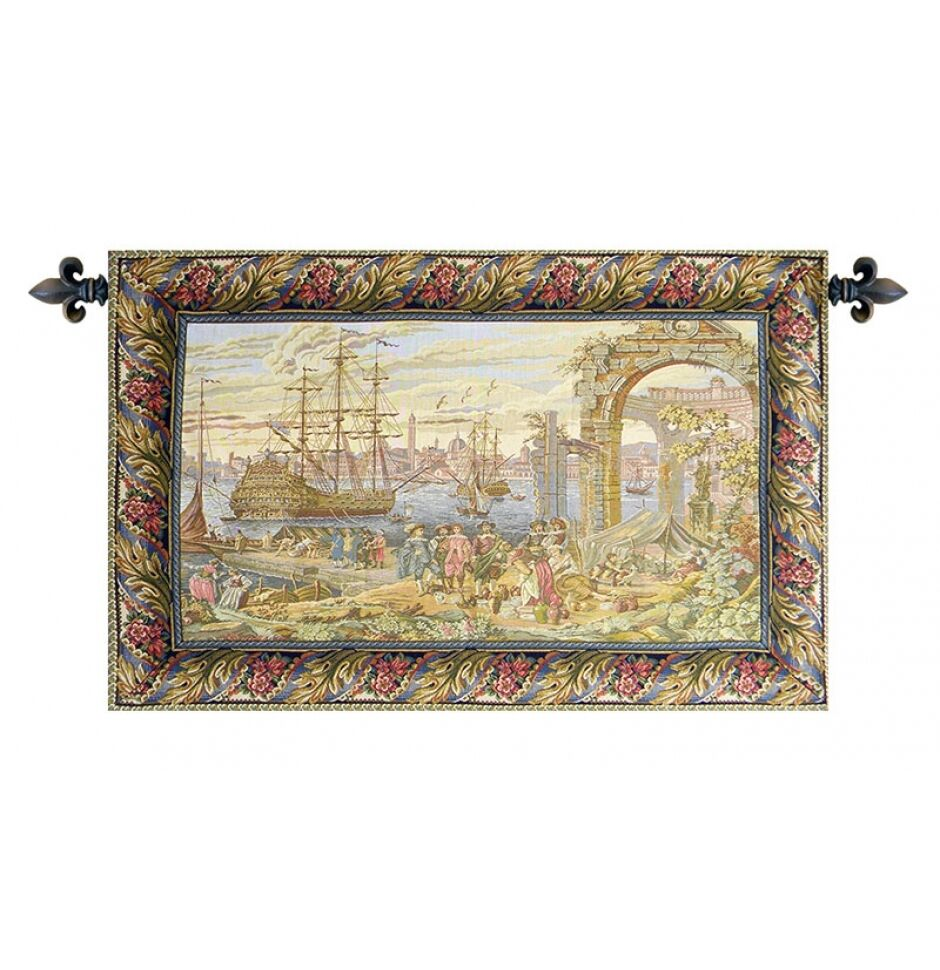 Old Italian Port Seaside Ship Medieval Venice Picture Tapestry Mercanti 35 x54