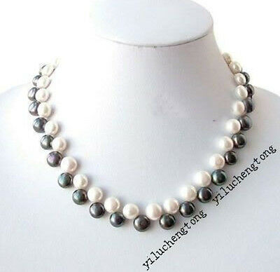 """Button 7-8mm Real White & Black Freshwater Cultured Pearl Necklace 18"""""""