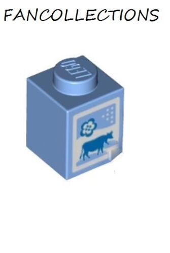 Medium Blue Brick 1x1 with Cow and Flower Pattern Lego 3005pb016 NEUF