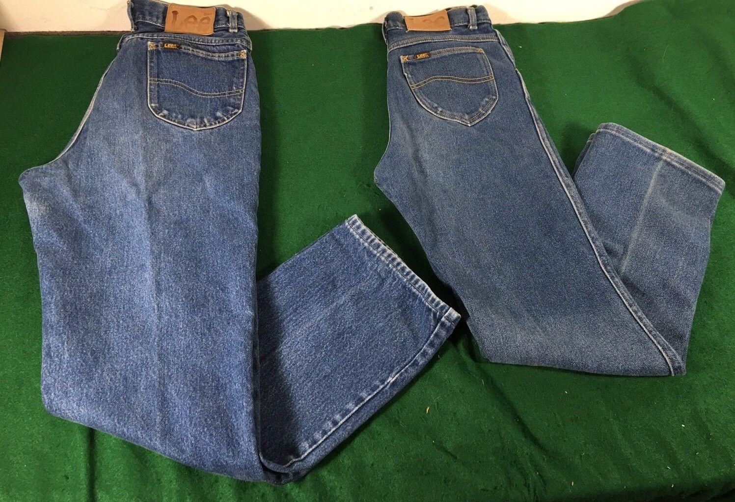 Vtg 1970's Lee Rider Denim Jeans Talon Zipper Made In USA 28x29 Men's 2 pairs