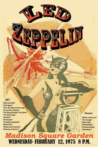 """Heavy Metal 1970/""""s Led Zeppelin at Madison Square Garden Concert Poster 1975"""