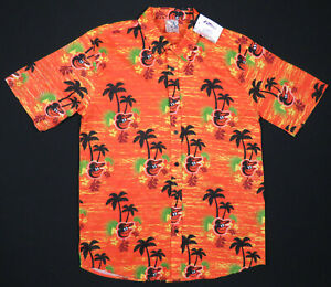 NWT Baltimore Orioles Hawaiian Aloha SGA 2019 MLB Baseball Camp Mens Shirt XL